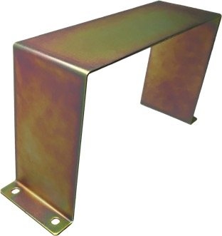 Zinc-plated bracket, finished with yellow dichromate